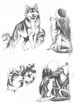 Эскизы тату волков